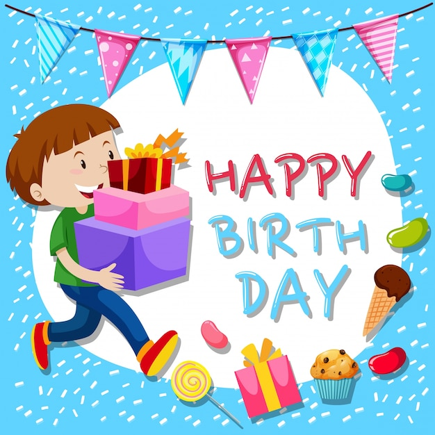Birthday card template with boy and presents Free Vector