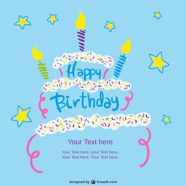 Birthday card template with cake Vector – Happy Birthday Card Templates Free