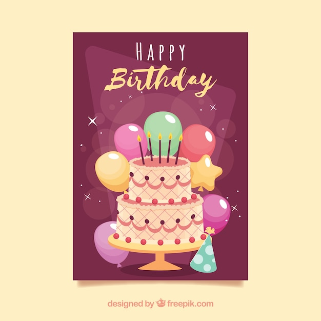 Birthday Card Template With Cake Free Vector