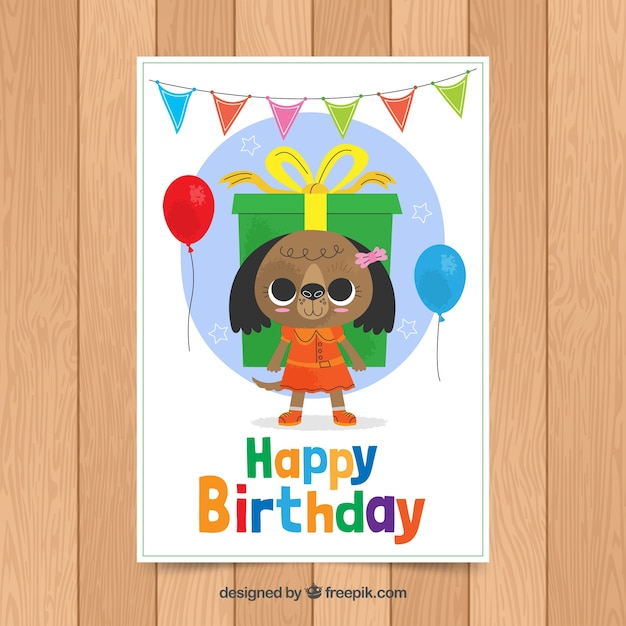 Birthday Card Template With Cute Bear Vector Free Download