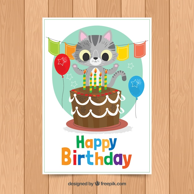 Birthday Card Template With Cute Cat Free Vector