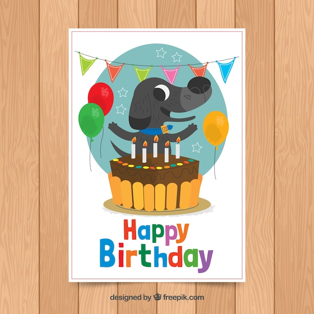 Birthday card template with cute dog Free Vector
