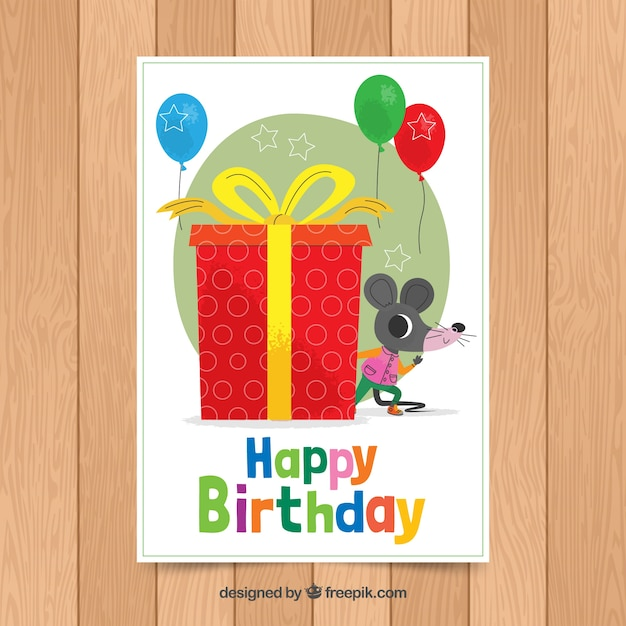 Birthday Card Template With Cute Mouse Vector Free Download