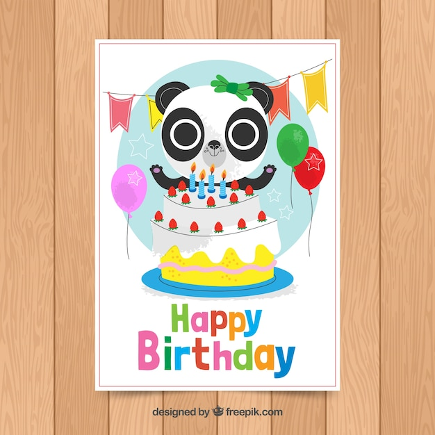 birthday card template with cute panda vector free download
