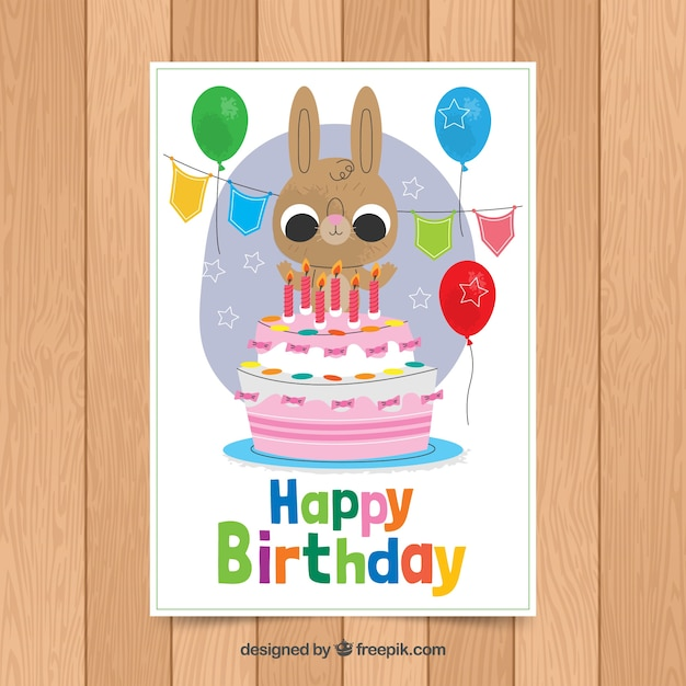 Birthday card template with cute rabbit Free Vector