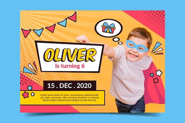 子供のための写真付きの誕生日カードテンプレート 無料ベクター