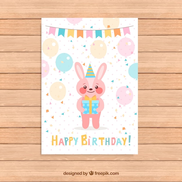 Birthday Card Template With Pink Rabbit Free Vector  Birthday Greetings Template