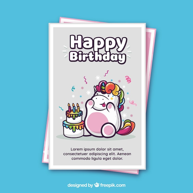 Birthday Card Template With A Unicorn Vector