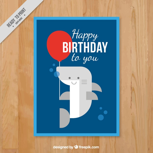 Birthday Card With A Flat Nice Shark Vector Free Download