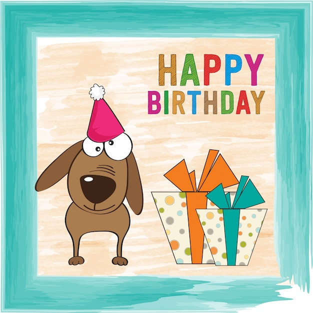 Birthday Card With A Funny Dog Vector