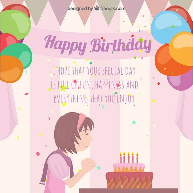 Birthday card with a girl making a wish Vector Free Download