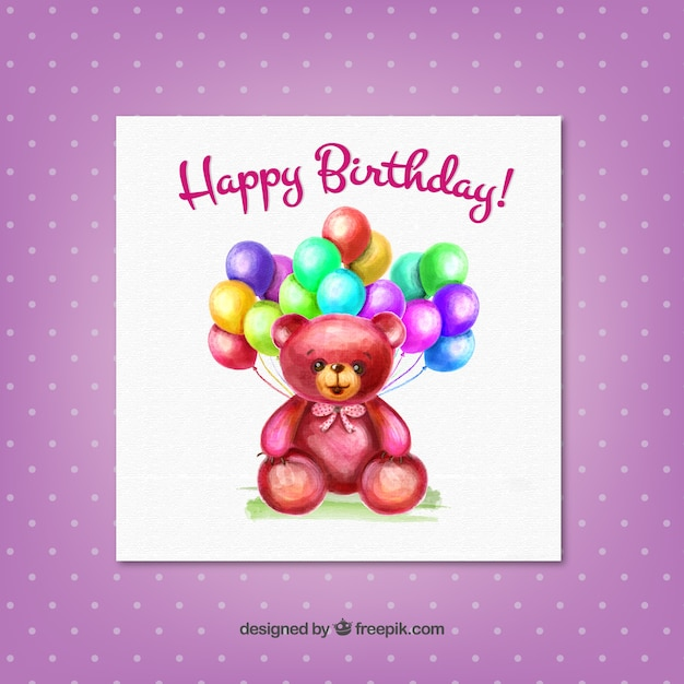 Birthday Card With A Hand Painted Teddy Bear Vector Free Download