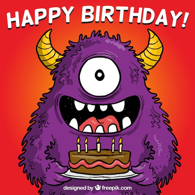 Birthday card with a monster Free Vector