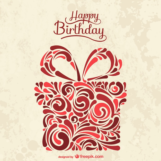 Birthday card with abstract present box Vector – Vector Birthday Card