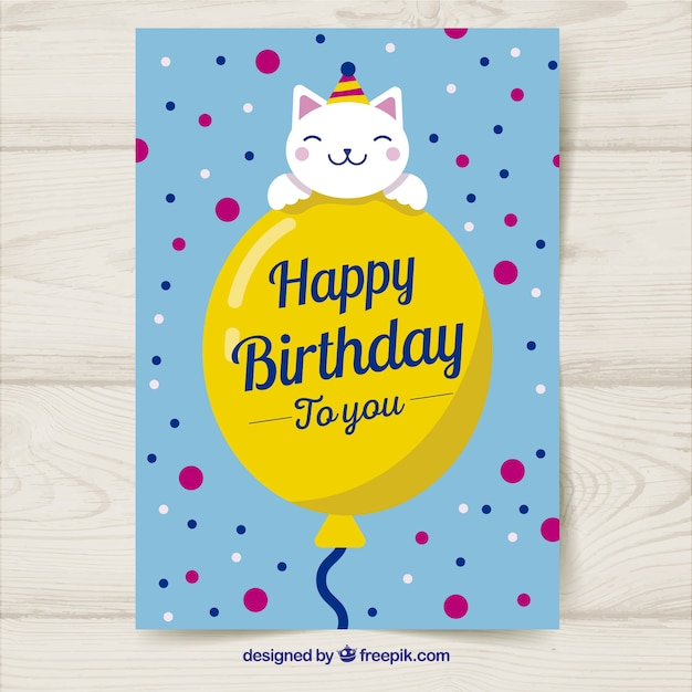 Birthday Card With Balloon And Cat In Hand Drawn Style Vector Free