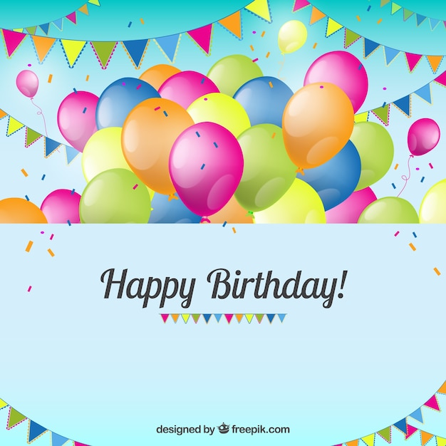 Birthday Card With Balloons And Bunting Vector Free Download