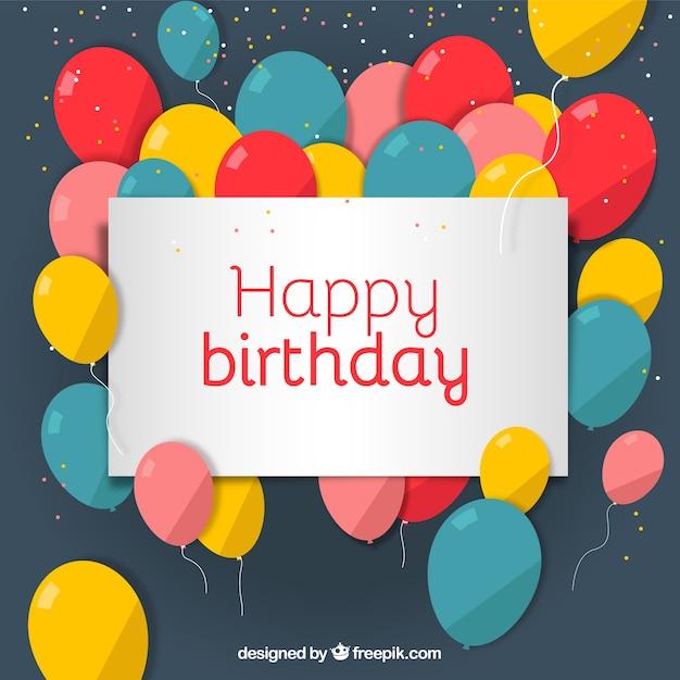 Birthday card with balloons Vector – Birthday Cards Balloons