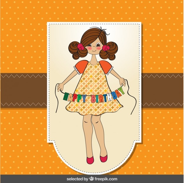 Birthday Card With Beautiful Girl Vector Free Download