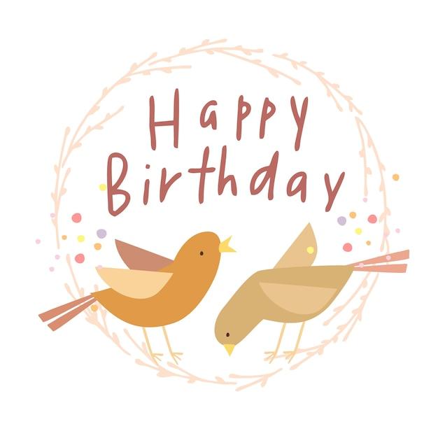 Carta di compleanno con gli uccelli Vettore gratuito