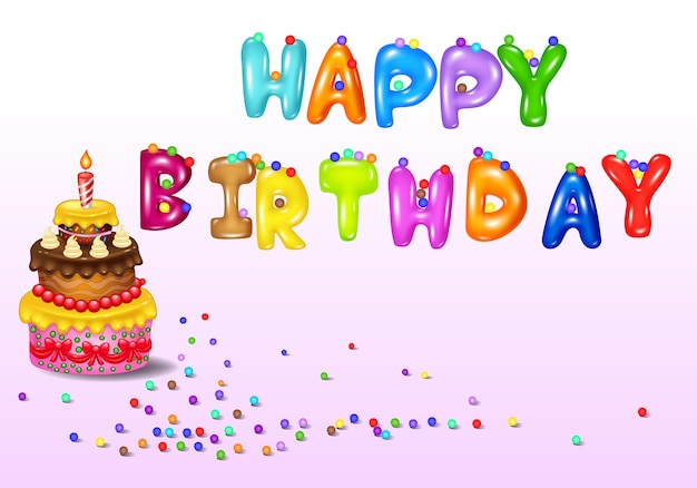 Birthday card with birthday cake Premium Vector