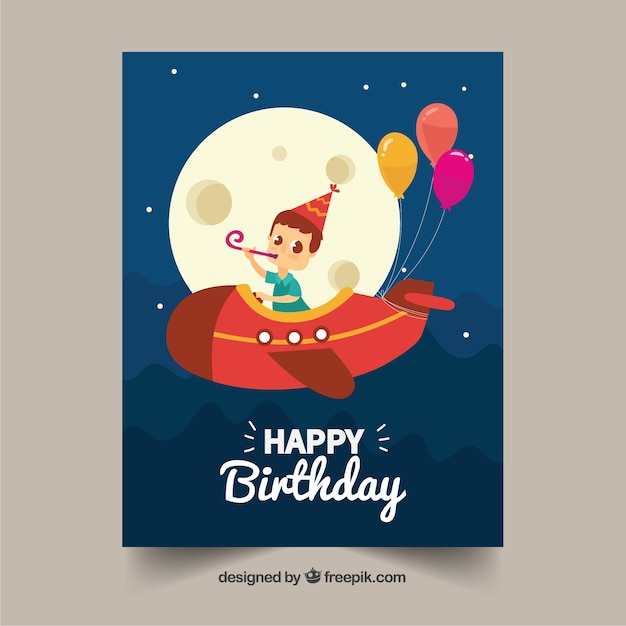Birthday card with boy flying in hand drawn style Free Vector
