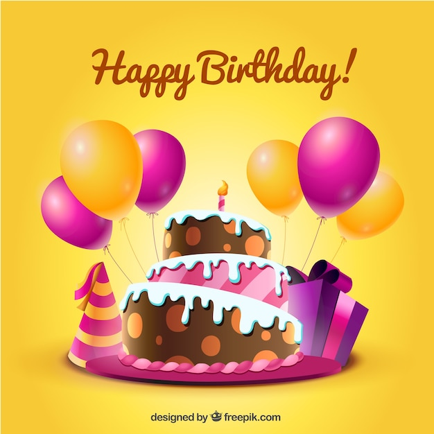 Birthday card with cake and balloons in cartoon style Vector – Free Birthday Cards Download