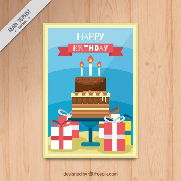 Birthday card with cake and gifts