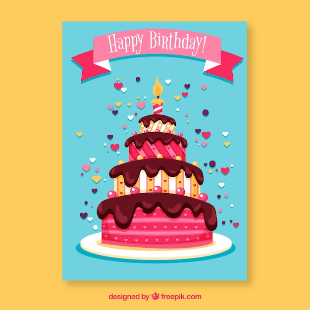 Birthday card with cake in hand drawn\ style