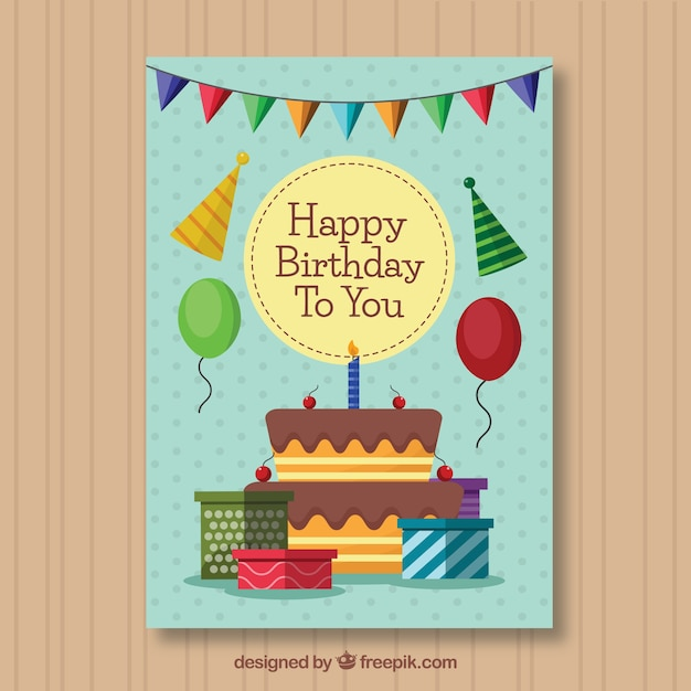 Surprising Birthday Card With Cake And Presents In Flat Style Free Vector Funny Birthday Cards Online Sheoxdamsfinfo