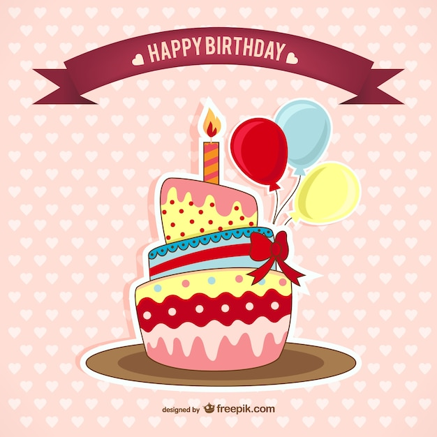 Birthday Card With Cake Free Vector