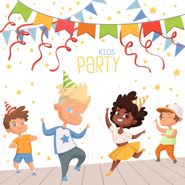 Birthday card with childrens dancing in the party Premium Vector