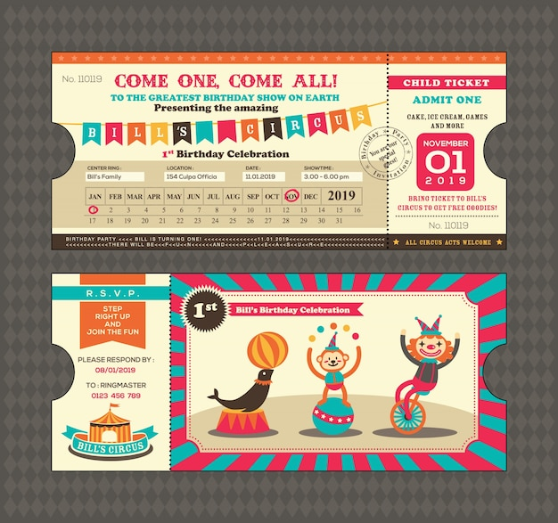 Birthday card with circus ticket design Vector – Birthday Card with Pictures