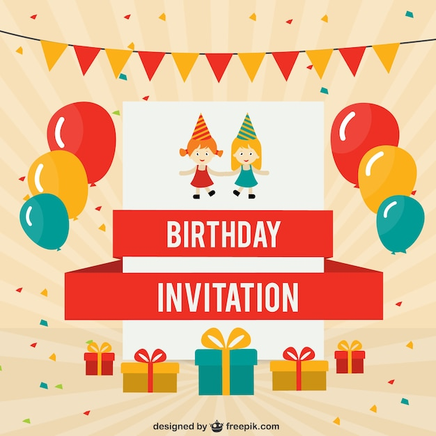 Birthday card with colored ballons Free Vector