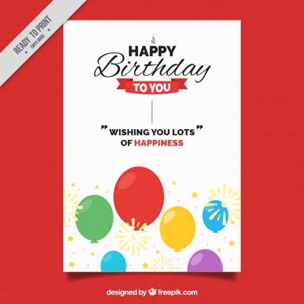 Birthday card with colorful balloons and cute message vector free birthday card with colorful balloons and cute message free vector bookmarktalkfo Images