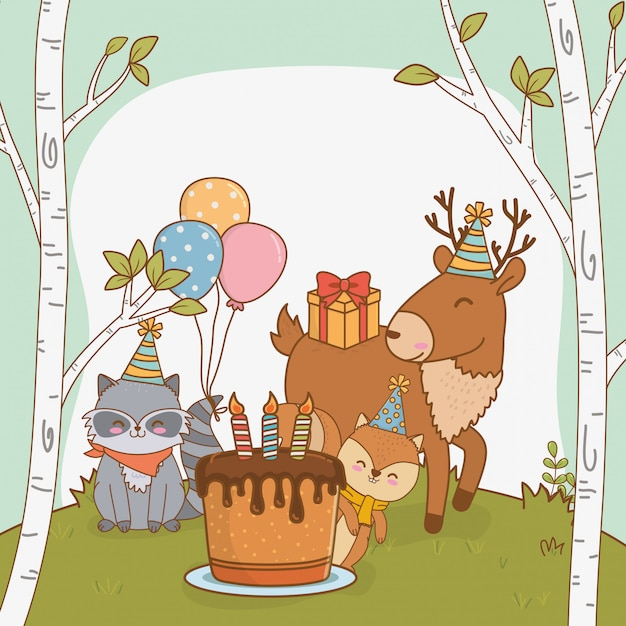 Birthday card with cute animals woodland Premium Vector