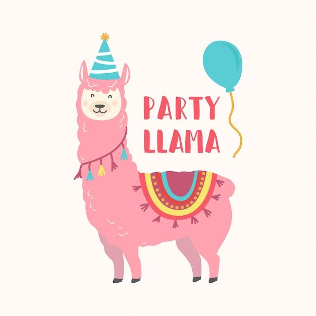birthday card with cute cartoon llama vector | premium download