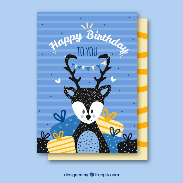 Birthday card with cute deer in hand drawn style vector free download birthday card with cute deer in hand drawn style free vector bookmarktalkfo Image collections
