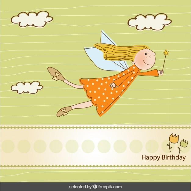 Birthday card with cute fairy Free Vector