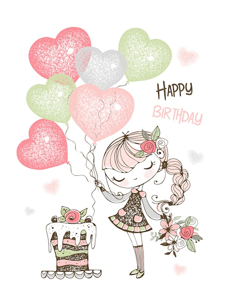 Birthday card with cute girl with cake and balloons. Premium Vector