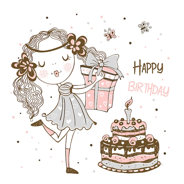 Birthday card with cute girl with gifts and birthday cake. Premium Vector