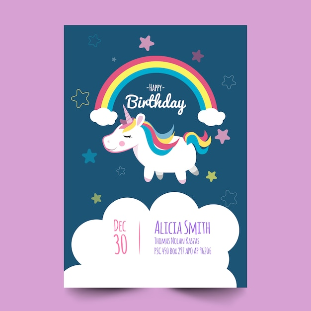 Birthday card with cute unicorn Vector | Premium Download