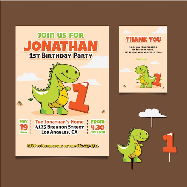 Birthday Card With Dinosaur Design Vector
