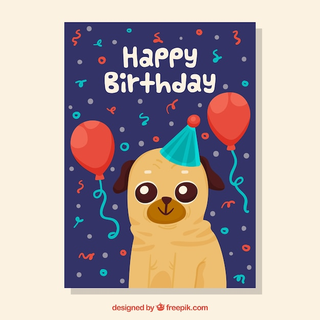 Birthday Card With Dog Vector Free Download