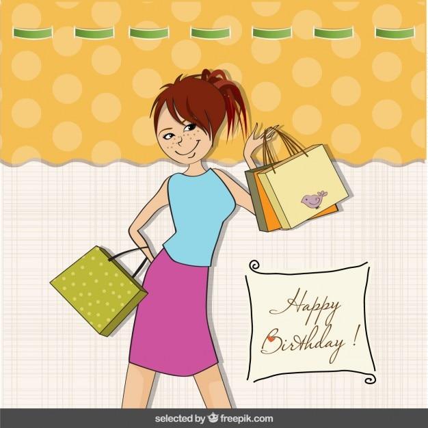 Birthday card with fashion teenager Vector – Fashion Birthday Cards
