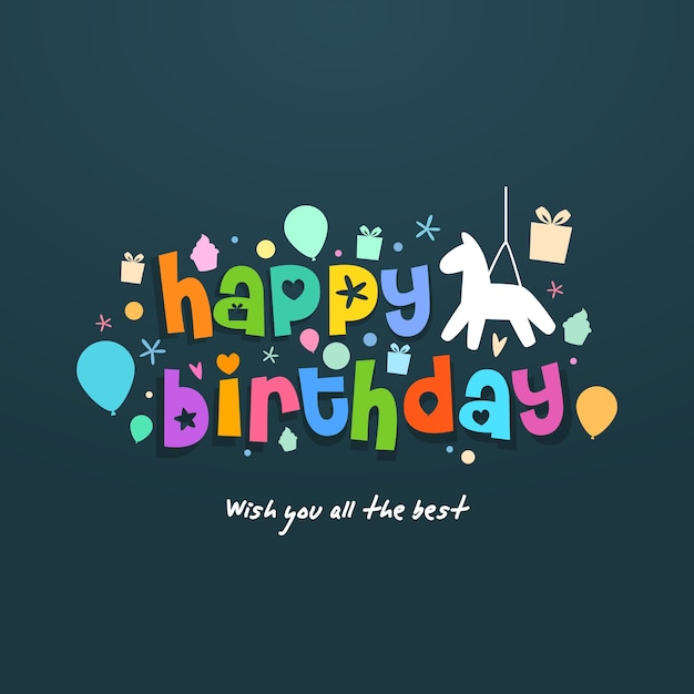 Birthday card with festive decoration and pinata Vector