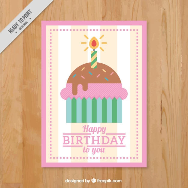 Birthday card with flat cupcake
