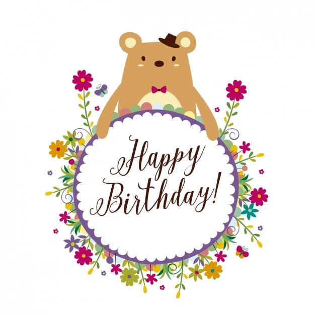 Birthday Card With Floral Frame Vector Free Download