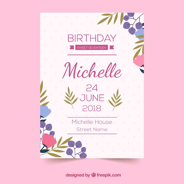Birthday card with flowers in flat style