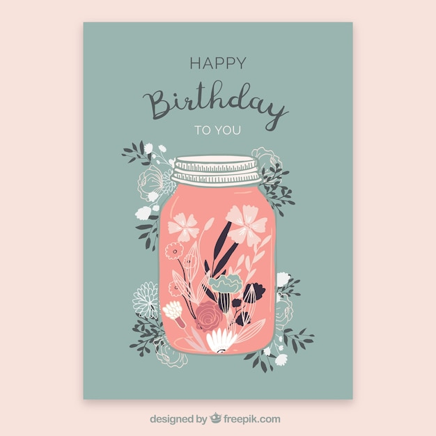 Birthday card with flowers in hand drawn style Free Vector