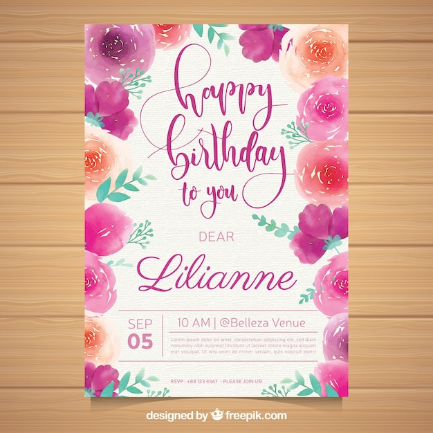 Birthday Card With Flowers In Watercolor Style Vector